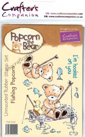 Fishing Popcorn Bear Unmounted Rubber Stamps